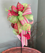 Load image into Gallery viewer, The Paulette Pink & Lime Green Bow For Wreaths and Lanterns~Easter baby shower decor~mailbox decoration~swag adornment~unique party supply
