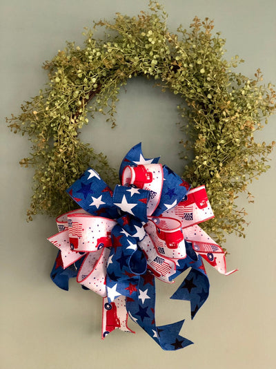 The Riley Red White & Blue American Flag Bow For Lanterns and Wreaths~fourth of July decor~Vintage truck Americana~Patriotic starsandstripes