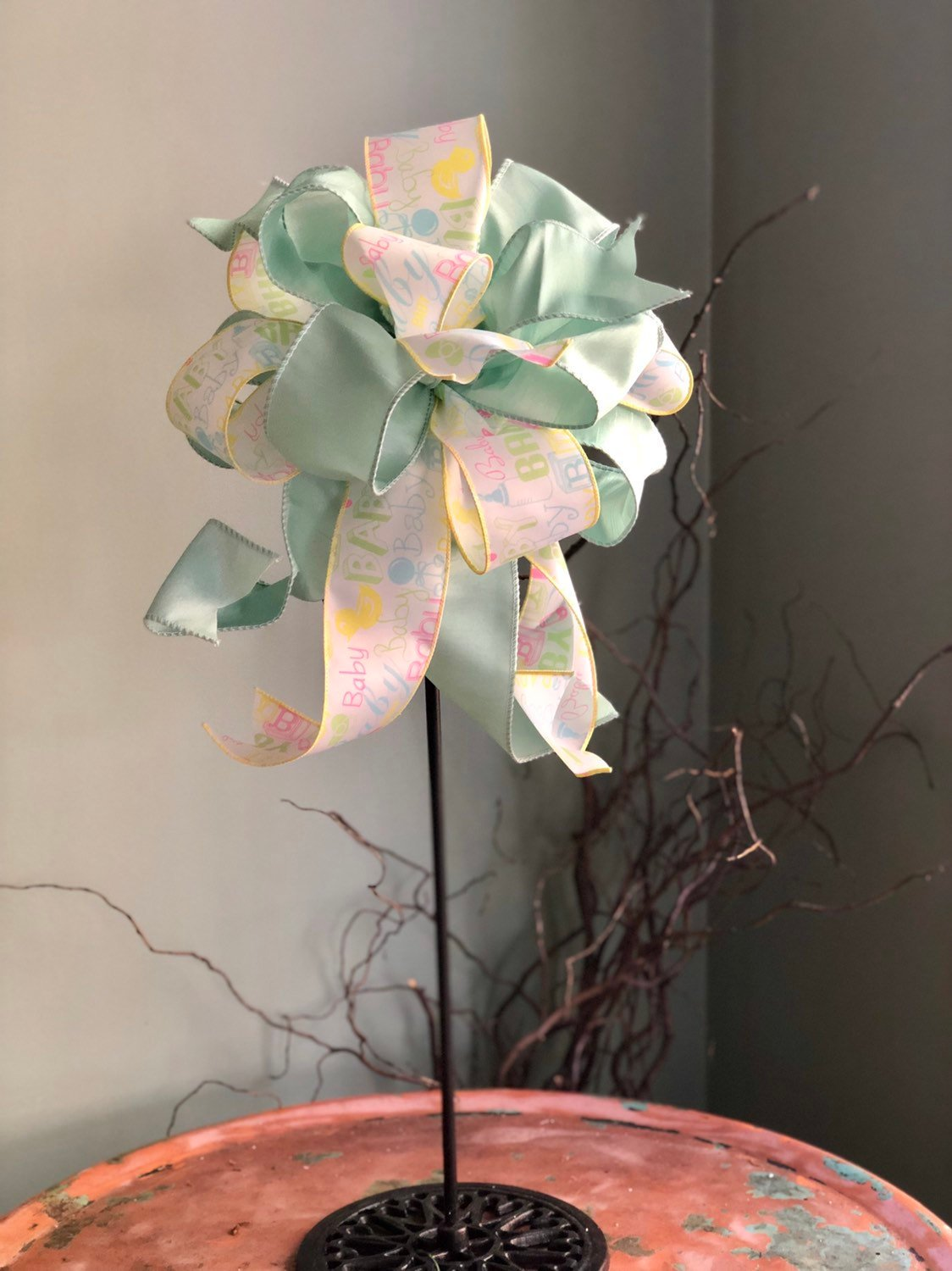 The Robin Baby Announcement Bow For Wreaths and Lanterns~Easter baby shower decor~mailbox decoration~swag adornment~unique party supply