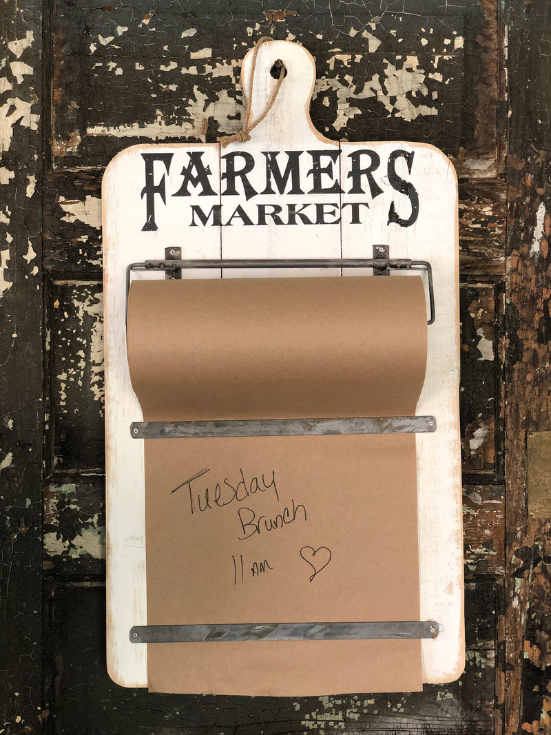 Farmers Market Grocery List & Note Wall Mounted Wood Board~Kraft paper roll wall mount~Weekly menu planner rustic wood board for Kraft paper