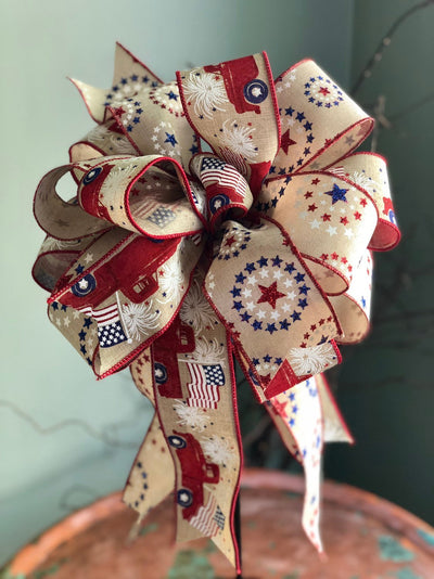 The Barbara Red White & Blue American Flag Bow For Lanterns and Wreaths~fourth of July decor~Vintage Americana~Patriotic starsandstripes