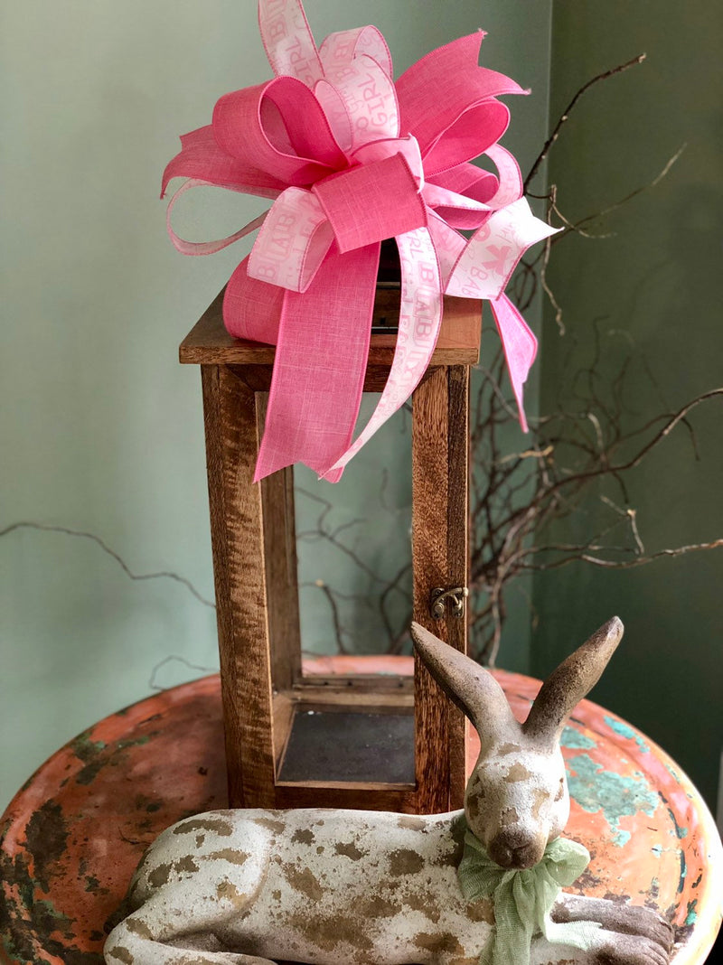 The Amy Pink & White Its A Girl Bow For Wreaths and Lanterns~Easter baby shower decor~mailbox decoration~baby girl~unique party supply