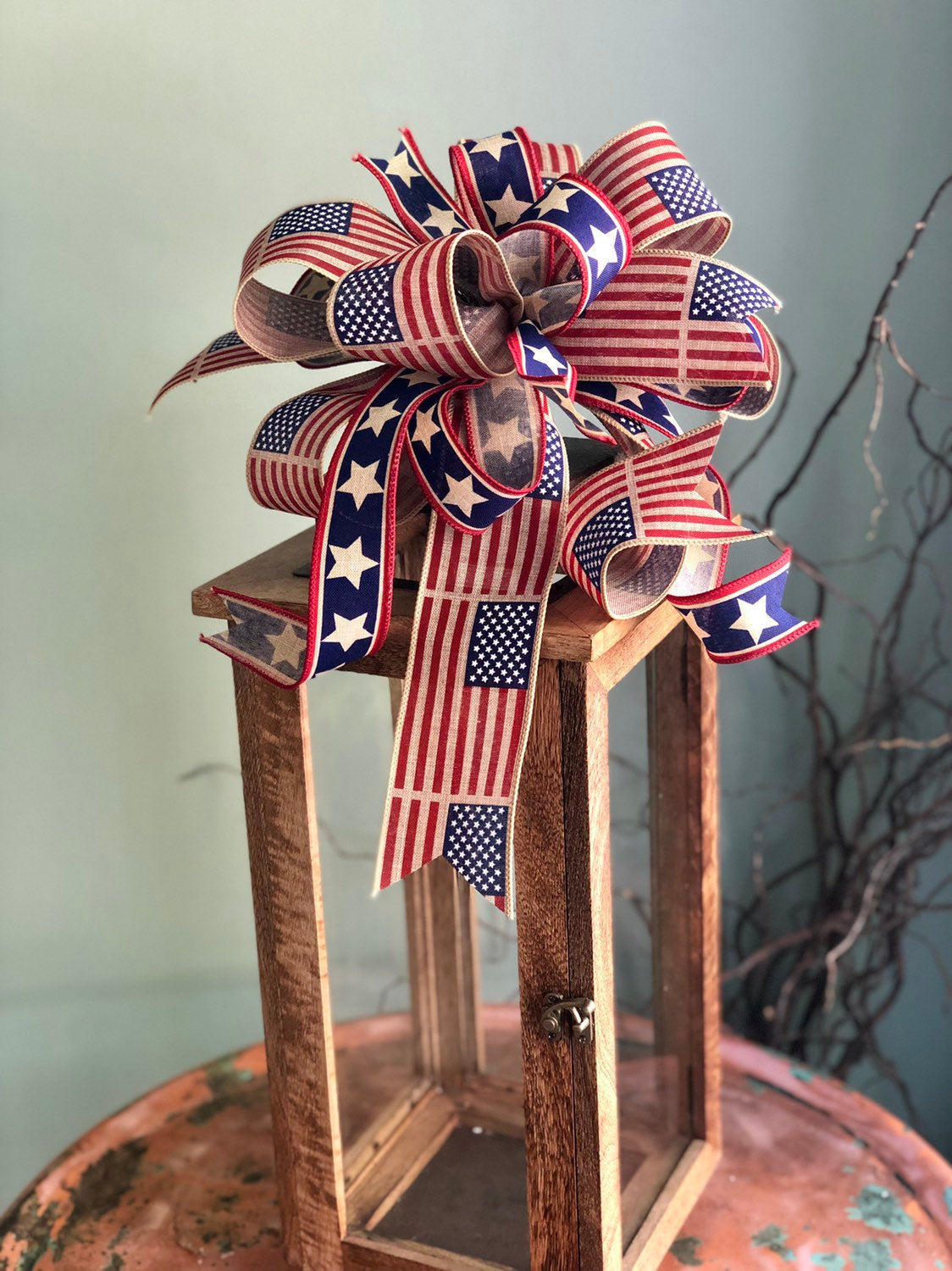 The Candice Red White & Blue American Flag Bow For Lanterns and Wreaths~fourth of July decor~Vintage Americana~Patriotic starsandstripes