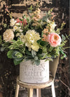 The Lumi Oversize Rustic Farmhouse Spring Centerpiece For Table~All season cottage~French country shabby chic~white & pink wedding florals