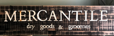 Vintage Style Mercantile Large Wood Sign~XL black distressed farmhouse rustic sign~Kitchen sign~Merchant sign~dry goods kitchen decor