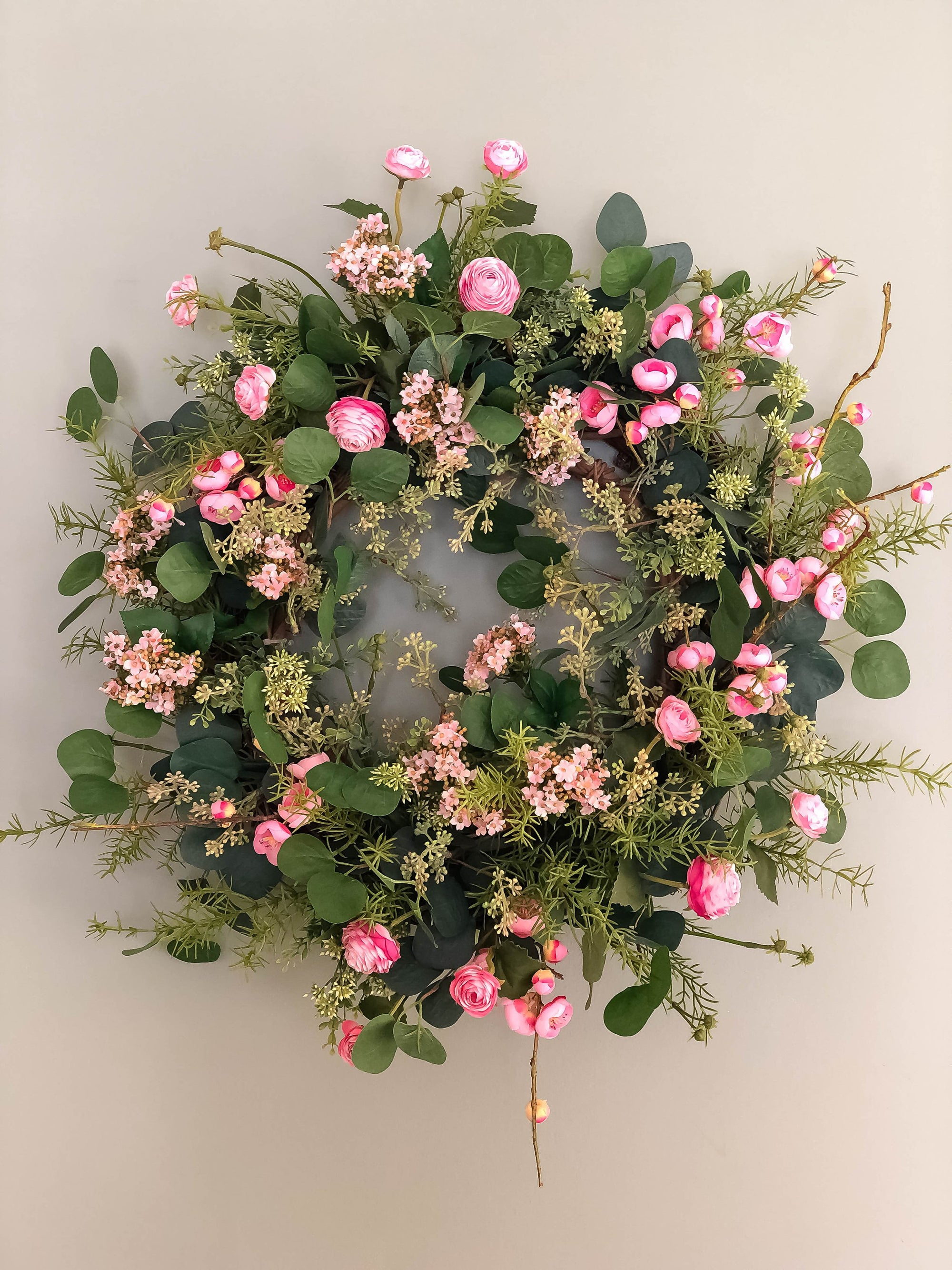 The Amaya Pink Plum Blossom & Ranunculus Spring Wreath for front door~French country farmhouse decor~Easter Mothers day~Wedding decorations