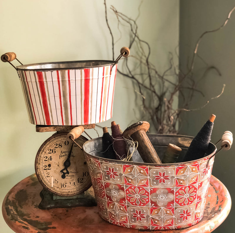The Rebekah Vintage Style Amish Print Oval Metal Bucket With Wood Handles~Farmhouse & cabin door home decor~Large rustic tub planter