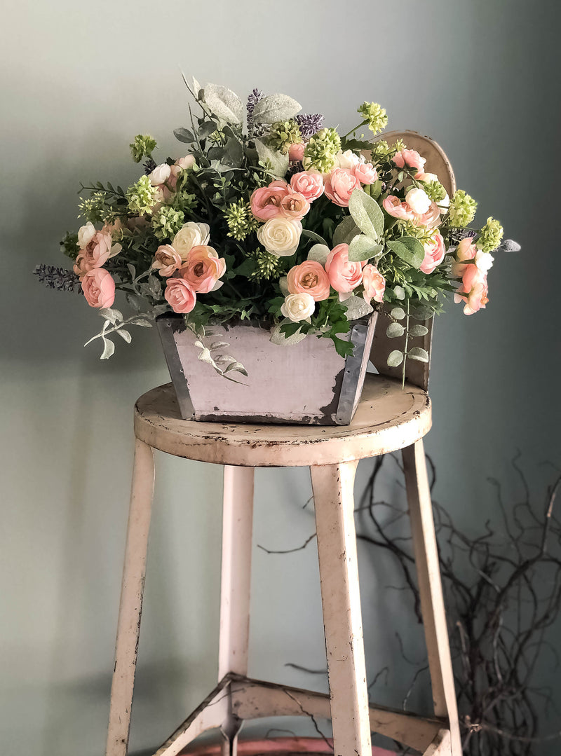 The Alisia Spring Easter Pink & Cream Centerpiece For Table~French country cottage lavender arrangement~wedding florals~wedding decor
