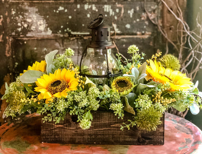 The Marigold Rustic XL Summer Sunflower Farmhouse Centerpiece~Long dining table lantern arrangement~Yellow Cabin decor~Fixer Upper Decor