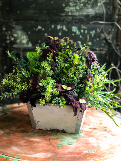 The Mindy Summer Herb Garden Rustic Centerpiece For Tables~Farmhouse decor~Kitchen island arrangement~natural garden style faux flora