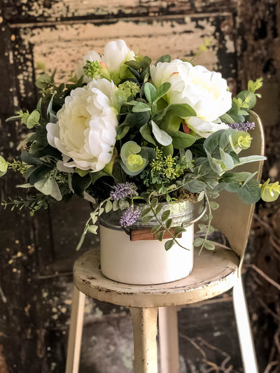 The Calista Rustic Farmhouse Spring Centerpiece For Table~All season cottage~French country shabby chic flowers~white peony wedding florals
