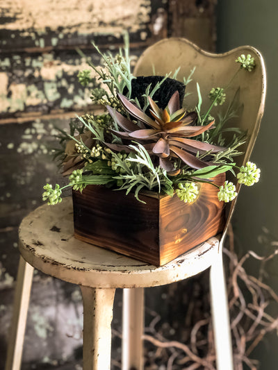 The Suri Spring Succulent & Mixed Greenery Centerpiece For Table~All season natural eggplant and grey succulent arrangement~Summer decor