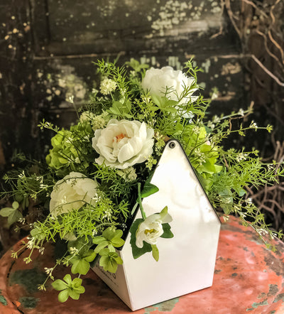 The Lisette Rustic French Country Farmhouse Centerpiece For Table~All season natural green & white garden arrangement~hydrangea centerpiece