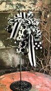 The Jersey Black & White Cow Print Bow For Lanterns and Wreaths~Swag bow~Mailbox bow~Farmhouse bow~stripe bow~polka dot long streamer bow