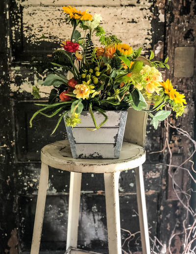 The Lola Rustic Sunflower Country Farmhouse Centerpiece For Table~All season yellow & orange garden arrangement~wildflower centerpiece
