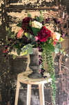 The Lolita French Country Farmhouse Centerpiece For Table~All season natural plum, pink & cream garden arrangement~Elegant urn vase florals