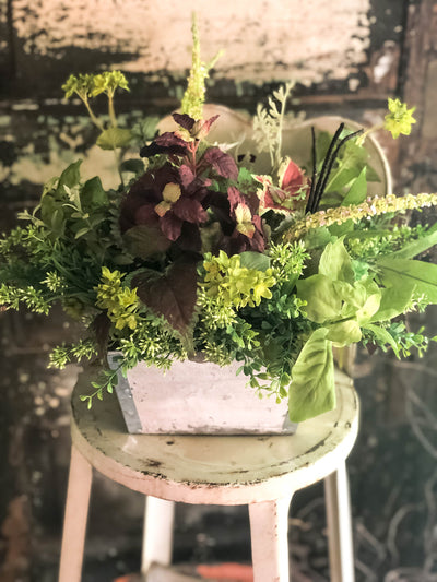 The Mandy Summer Herb Garden Rustic Centerpiece For Tables~Farmhouse decor~Kitchen island arrangement~natural garden style faux flora