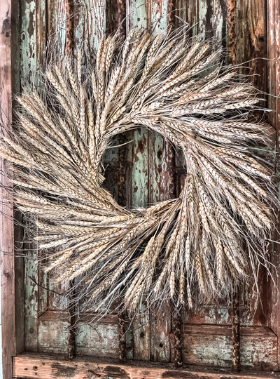 The Gabriel Fall Preserved Wheat Wreath For Front Door~French country cottage wreath~Farmhouse rustic wreath~Cabin decor~primitive wreath
