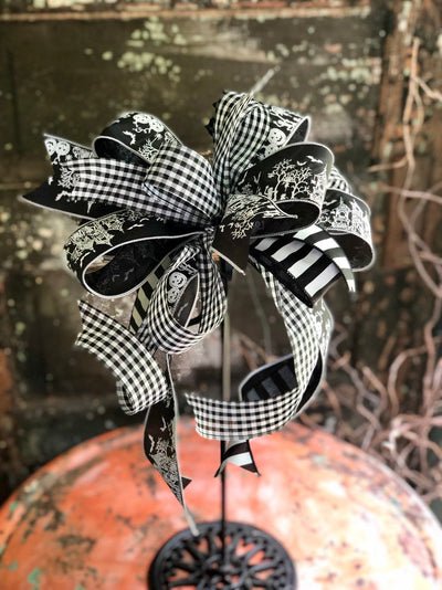 The Boneyard Black & White Halloween Bow for Wreaths And Lanterns~Spooky All Hallows Eve Bow~Skeleton Bow~pumpkin bow~graveyard bow~