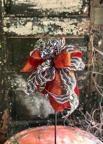 The Azriel Orange Black & White Skull Halloween Bow for Wreaths and Lanterns~All hallows eve bow~skeleton bow~large bow for mailbox~