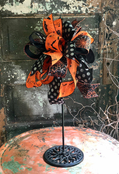 The Elvira Halloween Bow For Lanterns & Wreaths~Black silver and orange all hallows eve bow for door~Bat spiderweb bow~halloween decor