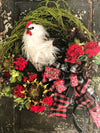 The Chanticleer Oversize Farmhouse Rooster Wreath~XL red & white farmhouse wreath, Geranium and sunflower wreath, rustic country wreath