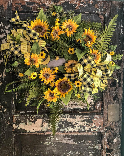 The Wendy Summer Sunflower & Fern Farmhouse Wreath for front door~XL farmhouse fern wreath, Fall wreath, Black and yellow buffalo check