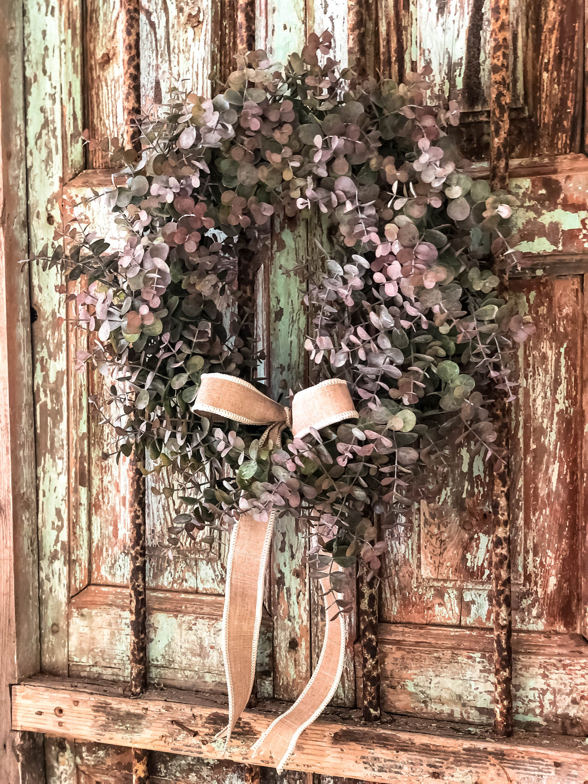 The Eunice All Season Eucalyptus Wreath For Front Door~summer spring fall winter Wreath~Rustic Farmhouse wreath~French country cabin wreath
