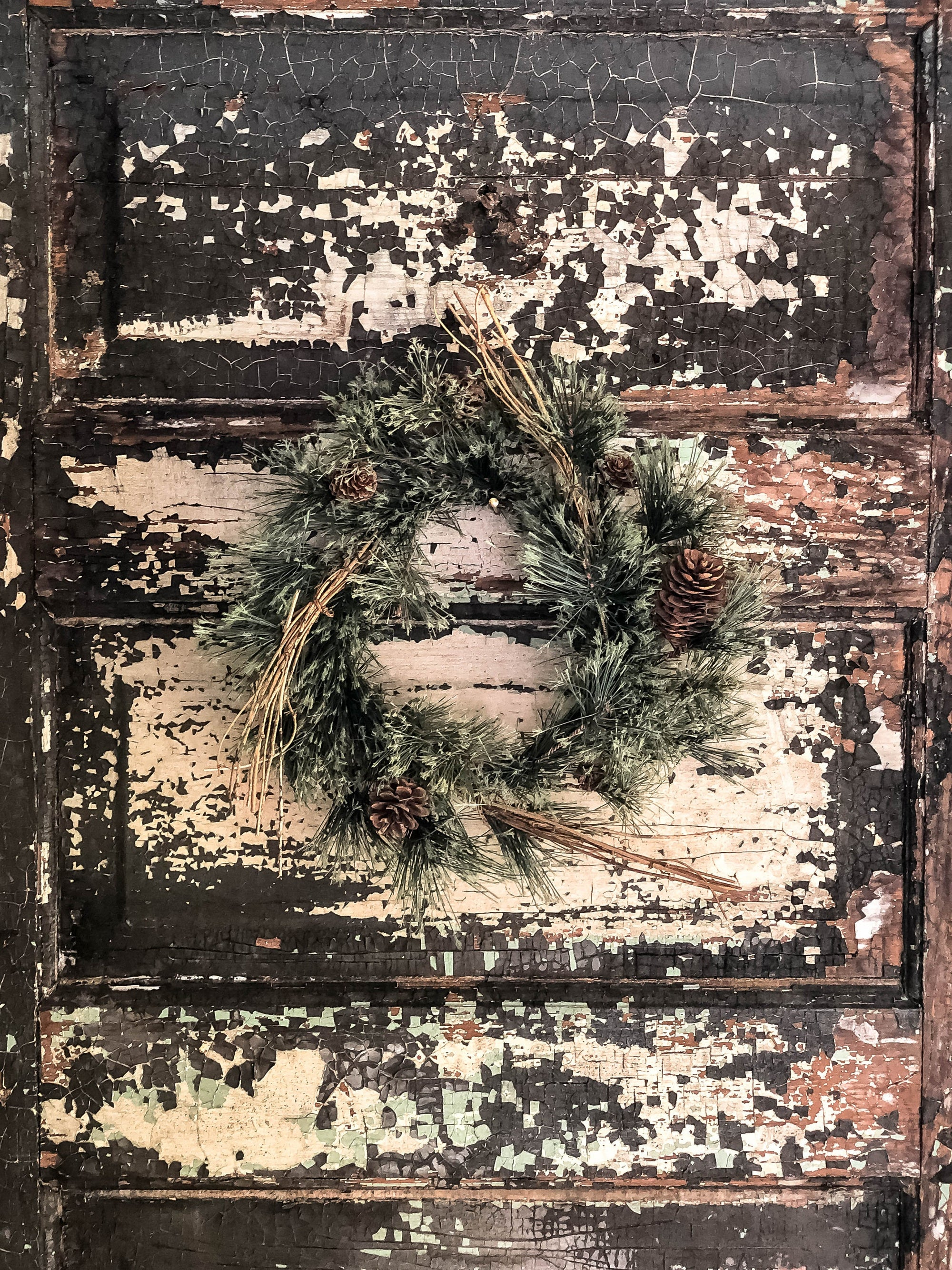 The Winslow Woodland Mini Pine Wreath For Front Door~Pine candle ring for pillar candles~Rustic Farmhouse wreath~Cabin decor~Xmas Wreath