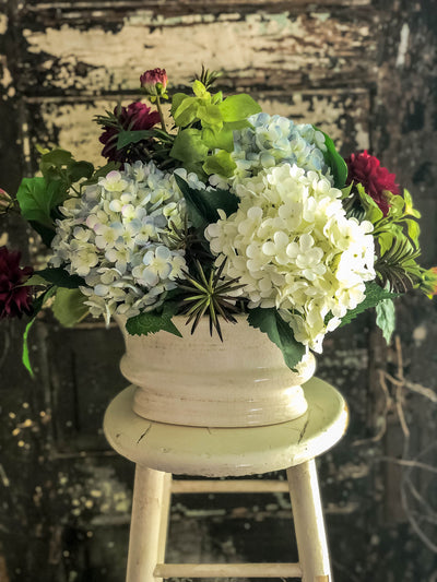 The Miriam Blue & White Hydrangea Centerpiece For Table~All season dining table arrangement~Summer arrangement~year round elegant floral