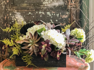 The Chelsea XL Cream & Green Rustic Garden Centerpiece For Dining Table~Farmhouse fixer upper decor~Natural cottage hydrangea and succulent
