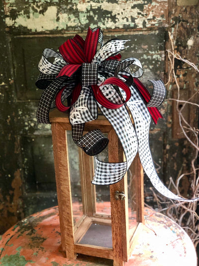 The Vicki Red, Black & White Farmhouse Welcome Bow~Lantern bow~bow for wreaths~fall bow~buffalo check bow~Gingham stripe bow~farmhouse decor