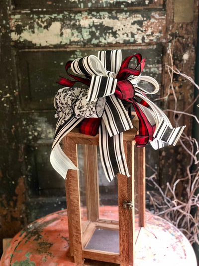 The Tiffany Red, Black & White Farmhouse Bow~Lantern bow~bow for wreaths~fall bow~stripe toile bow~farmhouse decor~mailbox farmhouse decor