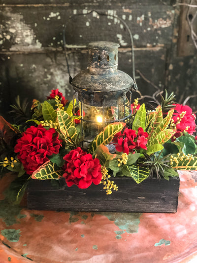 The Gemma Summer Red Geranium Succulent & Mixed Greenery Rustic Farmhouse Centerpiece in XL With LED Lantern~Fall Centerpiece For Table