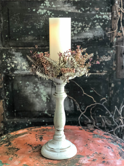 The Honey 3 Inch Candle Ring~harvest Thanksgiving candle ring~Fall farmhouse decor~eucalyptus & heather taper candle wreath~mini wreath
