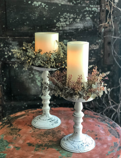 The Lanie 6 Inch Candle Ring~harvest Thanksgiving candle ring~Fall farmhouse decor~eucalyptus & heather taper candle wreath~mini wreath