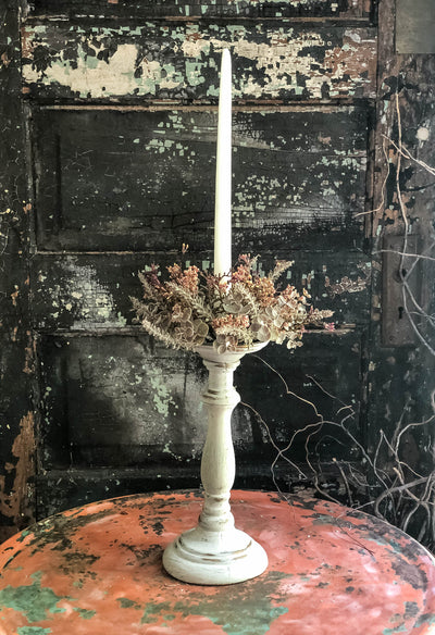 The Windsor 12 Inch Wood Taper & Pillar Candlestick Holder~Cream and gold candle holder~shabby chic decor~Distressed Candle Stand