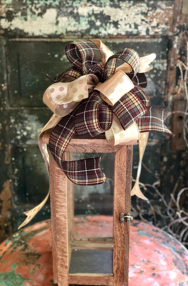 The Brooke Fall Plaid Farmhouse Bow For Wreaths & Lanterns~Brown gold polka dot bow~mailbox bow, swag bow, home decor, Thanksgiving bow