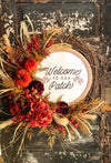 The Penny Fall Pumpkin Wreath for Front Door~Wreath with sign~thanksgiving wreath~Welcome to our patch~velvet pumpkin wreath~rustic wreath