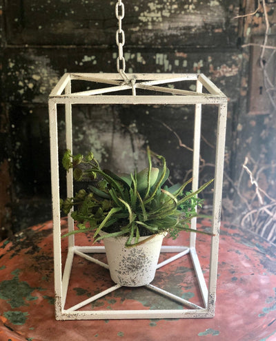The Bonnie Farmhouse White Metal Hanging Planter Cage~White distressed vintage style succulent planter~Shabby Chic patio planter~Lakehouse