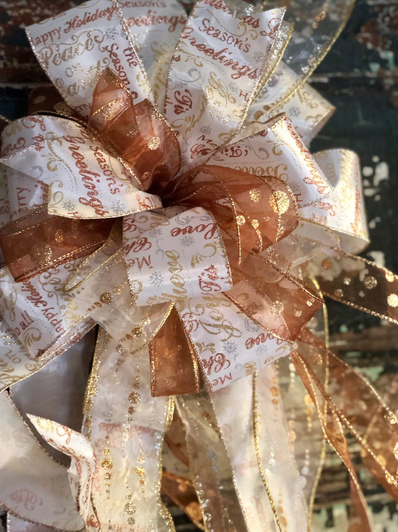 The Chriselda Gold & White Christmas Tree Topper Bow~Long streamer bow for wreaths~XL ribbon topper~Large bow for christmas tree~swag bow