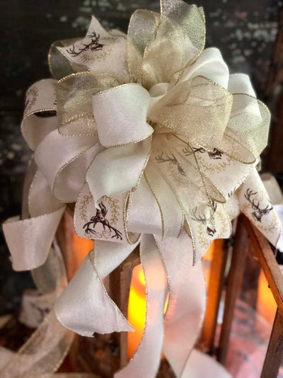 The Addison Cream & Gold Christmas Tree Topper Bow~Farmhouse ribbon topper~large bow for wreaths~lantern bow~swag bow~long streamer bow