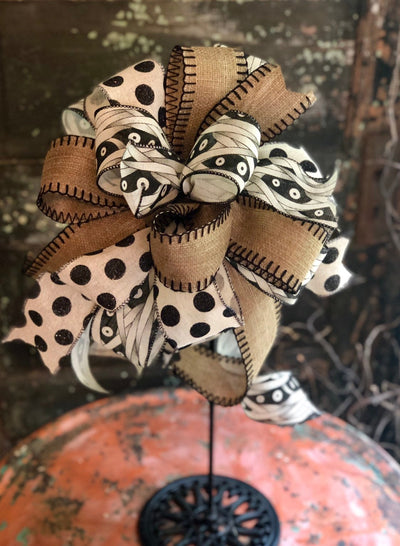 The King Tut Black & Tan Halloween bow for wreaths and lanterns~mailbox bow~swag bow~Spooky mummy bow~halloween decor~all hallows eve