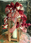 The Kristoph Red Black & Tan Christmas Tree Topper Bow~Bow for wreaths and lanterns~Xmas Bow buffalo check~Swag Bow~Farmhouse ChristmasDecor