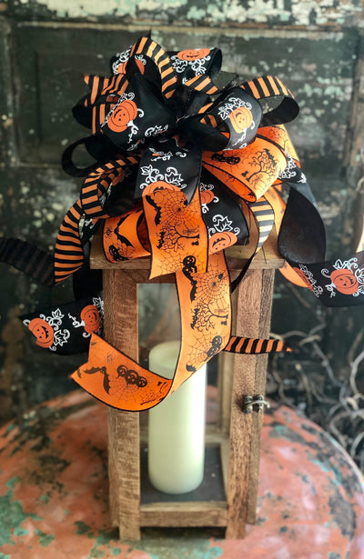 The Frankie Black & Orange Halloween Bow For Wreaths and Lanterns~Spooky Bow~mailbox bow~halloween decor~all hallows eve~pumpkin bow