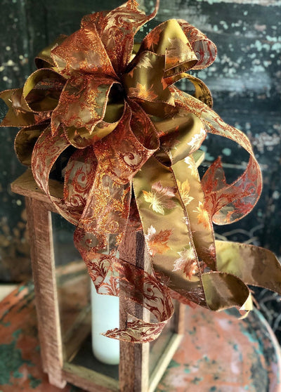 The Amber Copper & Gold Fall Bow for Wreaths And Lanterns~Fall decor, Mailbox Bow, Swag bow, Farmhouse Bling bow, Autumn Bow, Leaf Bow