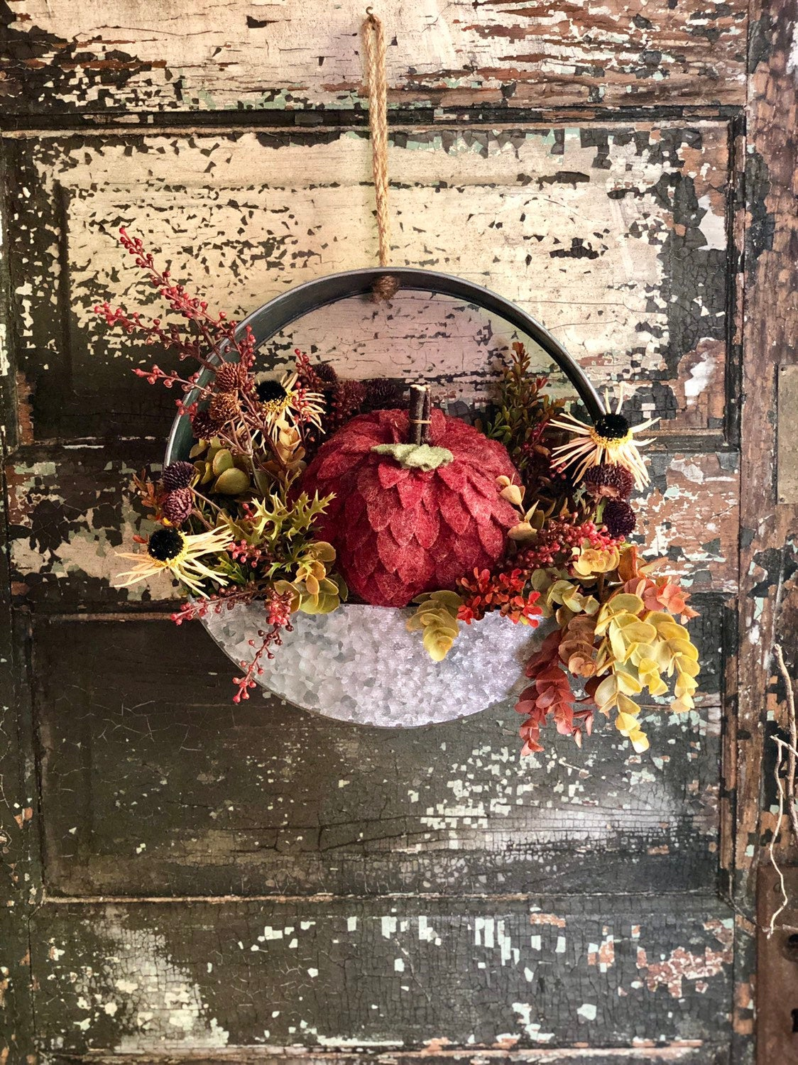 The Michelle Fall Pumpkin Wreath For Front door~Autumn Wreath~Metal wall hanging wreath~Thanksgiving wreath~Farmhouse wreath~rustic wreath