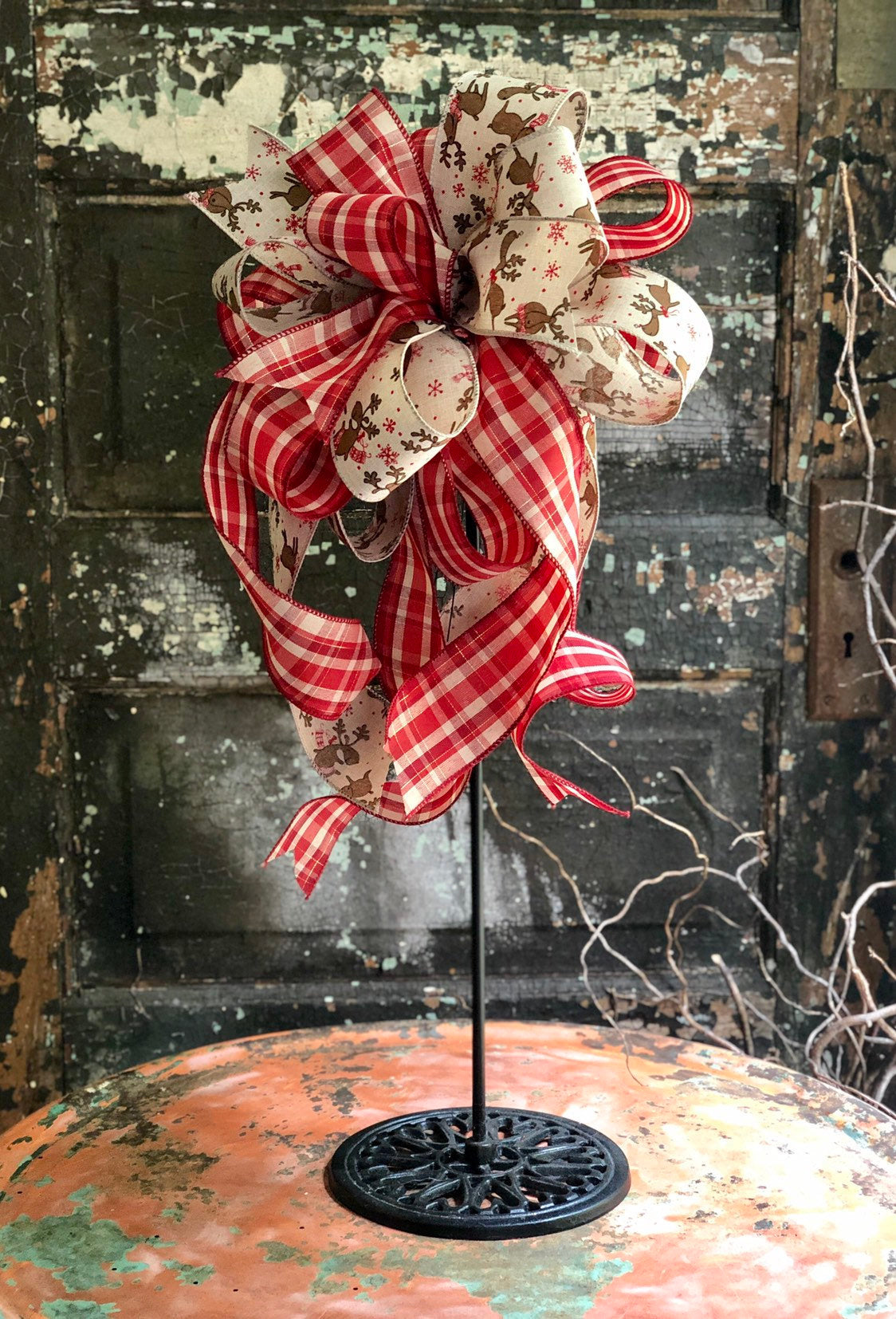 The Rudolph Red & Tan Christmas Tree Topper Bow~Bow for wreaths and lanterns~Xmas Bow reindeer~Swag Bow~Farmhouse ChristmasDecor