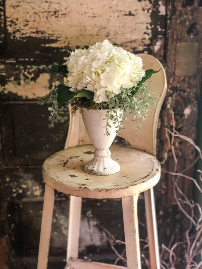 The Helene Shabby Chic White Hydrangea Centerpiece~Farmhouse creamy white distressed urn with artificial florals~Wedding decor~Cottage decor