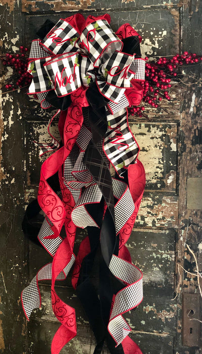 The Noel Red Black & White XL Christmas Tree Topper Bow~Bow for wreaths~Xmas Bow buffalo check~Swag Bow~Farmhouse wreath alternative